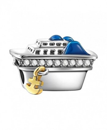 SOUFEEL Bon Voyage Cruise Ship Charm Crystal 925 Sterling Silver Fits European Charms Bracelets - CD12I4FX0ZV