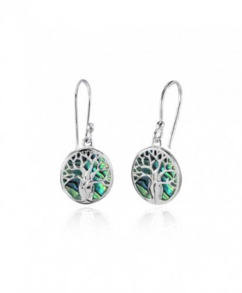 Sterling Silver Abalone or Simulated Turquoise Polished Tree of Life Dangle Earrings - Abalone - CL187QO025T
