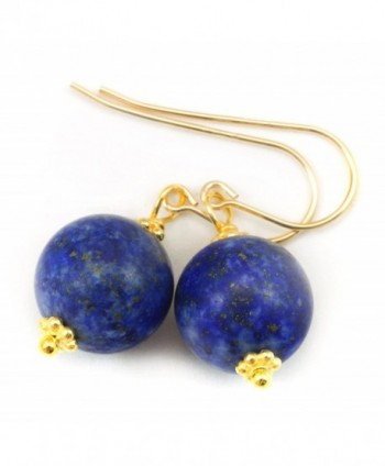 14k Gold Filled Lapis Lazuli Earrings Smooth Matte Finish Denim Blue Rounded Cut Beaded Accents - CW11HFNXYFF