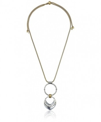 """Lucky Brand Two Tone Pendant Necklace- 28"""" - CG12HJY4CN7"""