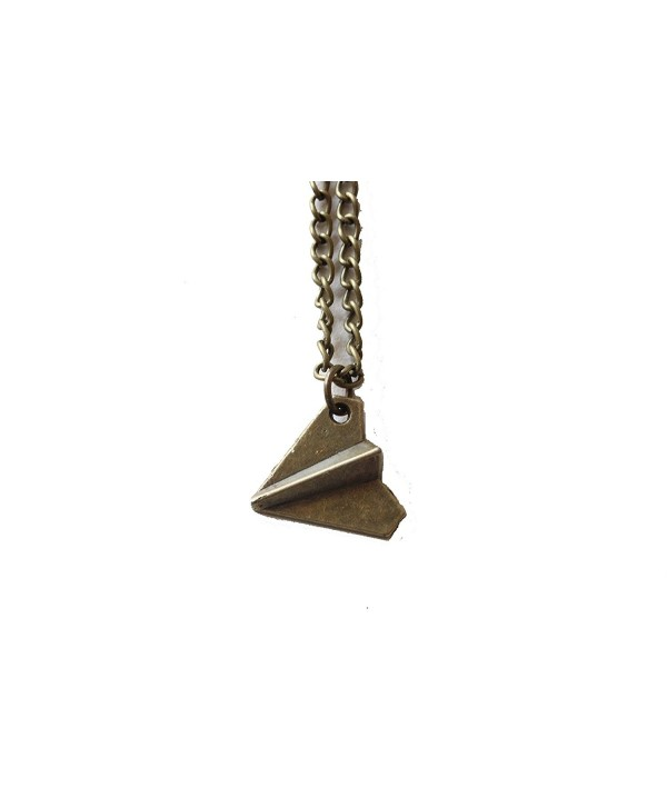 Ancient Bronze Paper Airplane Necklace - CC127XLICB9
