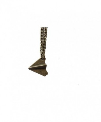 Ancient Bronze Paper Airplane Necklace in Women's Lockets