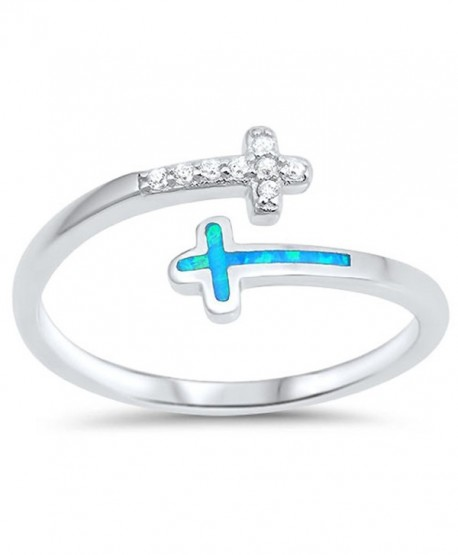CHOOSE YOUR COLOR Sterling Silver Open Cross Ring - Light Blue Simulated Opal - CQ12N4Y6AT3