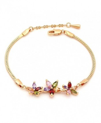 "Kemstone Multi Color Rhinestone Crystals Gold Plated Flower Link Bracelet for Teen Girls Women-6.96"" - C312INK1TN7"