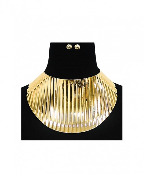 Womens Big Thick Oversized Metal Choker Necklace KS7012 - Gold (KS7015) - CG182AOQI8E