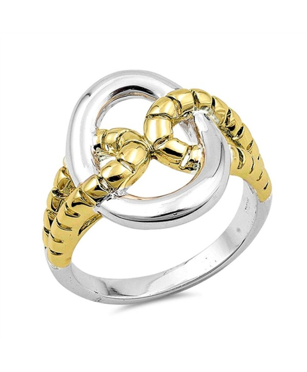 Gold-Tone Rope Knot Polished Ring New .925 Sterling Silver Band Sizes 5-9 - CG12JBXHISP