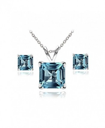 Sterling Silver London or Swiss Blue Topaz Square Solitaire Necklace and Stud Earrings Set - London Blue Topaz - CB12N83BYT6