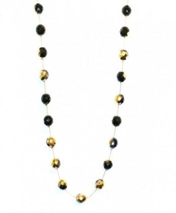 34 Inch Long Necklace Handcrafted Ombre Goldtone Black Beads - CR110DBZPGR