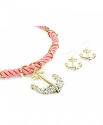 "Anchor Necklace & Earring Set-Clear Crystal/Rich Sofe Silk Cord-Navy Blue/Standard 16""+2""extension - Pink - C311GAVWECB"