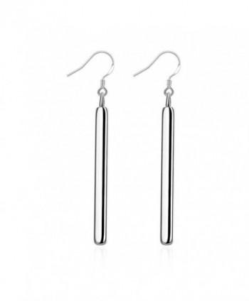A&J.Stylish Silver Plated Long Rectangle Bar Hooked Earrings Elegant Drop Earrings - C4185EE5C97