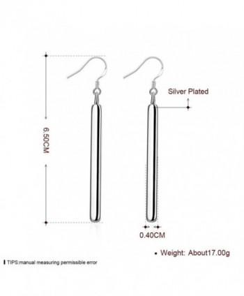 J Stylish Silver Rectangle Earrings Elegant