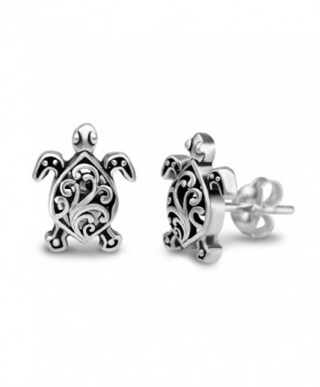 8883e13aa 925 Oxidized Sterling Silver Small Little Filigree Sea Turtle 11 mm Post  Stud Earrings - CU11WYKU191; Oxidized Sterling Silver Filigree Earrings ...