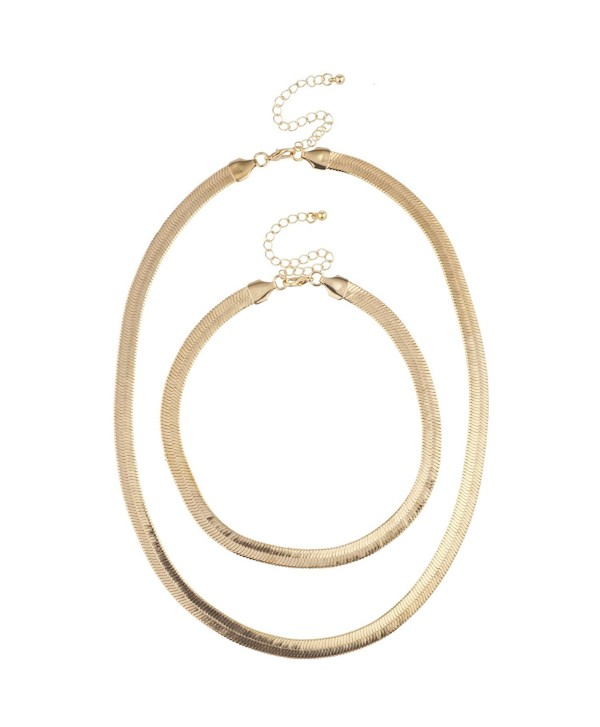 Lux Accessories Gold Tone Smooth Shiny Herringbone Chain Necklace Choker Set 2PC - C4188OOTCNZ
