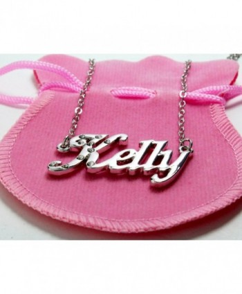 Name Necklace Kelly White Plated