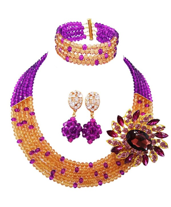 aczuv 5 Rows Women's Fashion African Beads Nigerian Necklace Bridal Wedding Jewelry Sets - Purple Champagne Gold - C8184TNY258