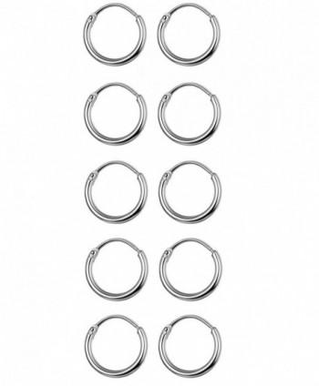 Thunaraz 5 Pairs Stainless Steel Endless Hoop Earrings Cartilage Piercing Silver Tone Sleeper Earrings 10mm - C61892DX7D0