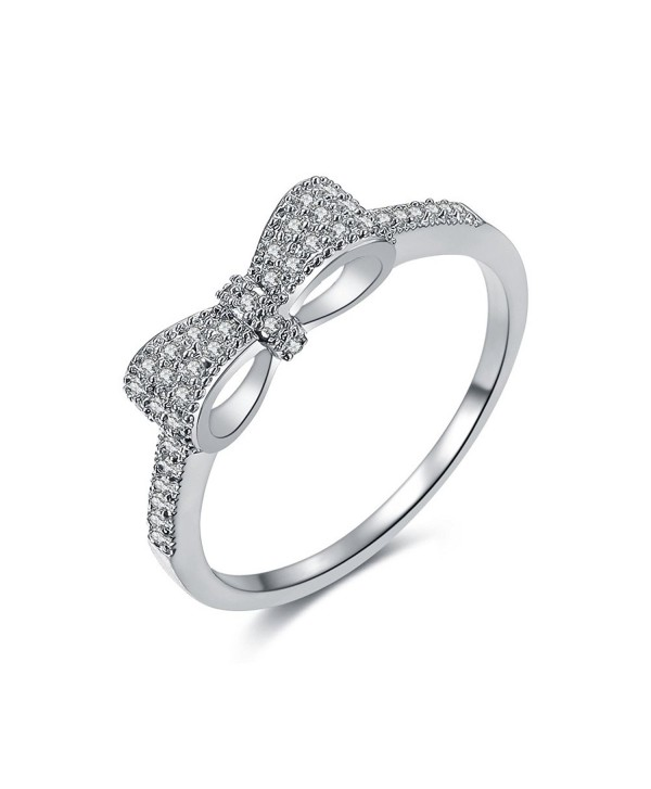 Serend 18k Gold Plated White Cubic Zirconia CZ Band Bow Ring Fashion Women Jewelry - platinum-plated - C712E5OKOQN