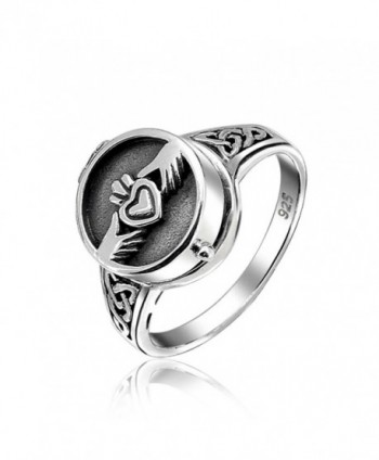 Irish Claddagh Locket Celtic Knot Band Sterling Silver Poison Ring - CX11B1WIKQJ