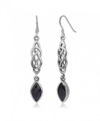 "925 Sterling Silver Celtic Knot Black CZ Cubic Zirconia Stone Dangling Hook Earrings 2.16"" - C112LPM7AYV"
