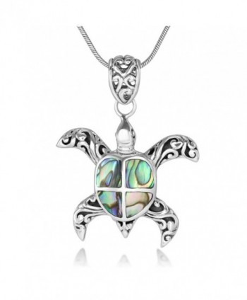 "Sterling Silver Natural Abalone Shell Inlay Filigree Sea Turtle Pendant Necklace 18"" Silver Chain - CW123CLVD8N"