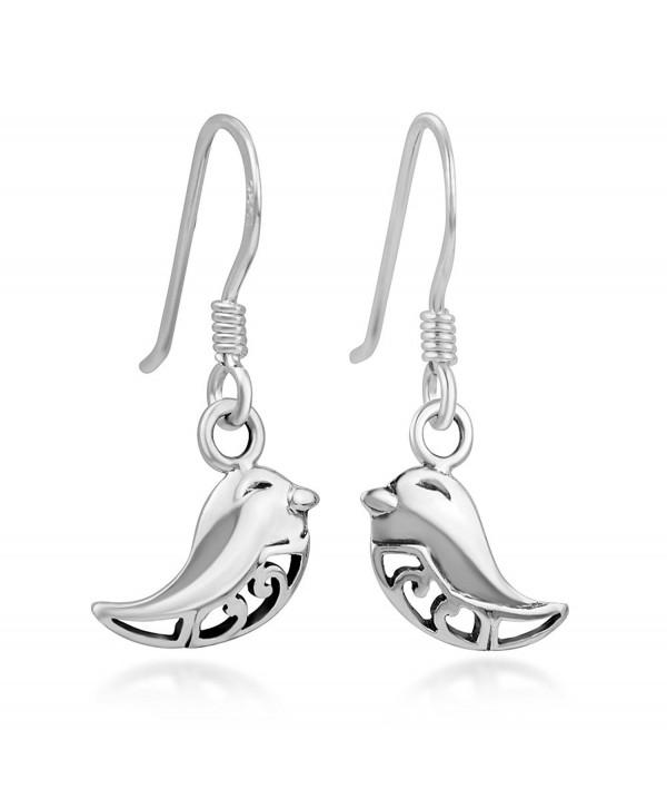 "925 Sterling Silver Open Filigree Lovely Little Bird Smiling Dangle Hook Earrings 0.9"" - C012DJFE2NP"