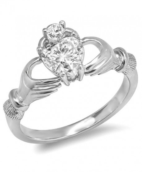 Sterling Silver Cubic Zirconia Irish Friendship & Love Heart Claddagh Ring (Available in size 6- 7- 8) - CC11KYSUIE3