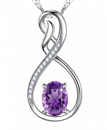 Amethyst Gemstone Birthstone Anniversary Girlfriend - Natural Amethyst Gemstone Infinity Necklace - C9189T3ENMC