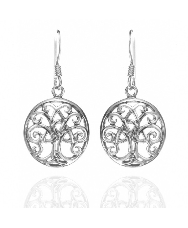 925 Sterling Silver Celtic Tree Of Life Trinity Knot Dangle Earrings - Nickel Free - C011I69DYCP