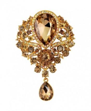 Bai You Mei Womens Classic Style Clear Glass Flower Brooch Pin Crystal Rhinestone Jewelry 11 Syles - 132-B - CV183LNYSHO