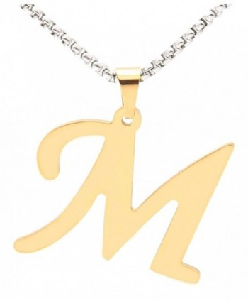 Xusamss Fashion Gold Titanium Steel Letter M Pendant Chain Necklace - Gold - CP182OAI5A7