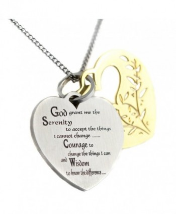 Filigree Serenity Prayer Heart Shaped Two Tone Two Piece Pendant 12 Step Serenity Prayer Necklace - CA12JEX1CY3