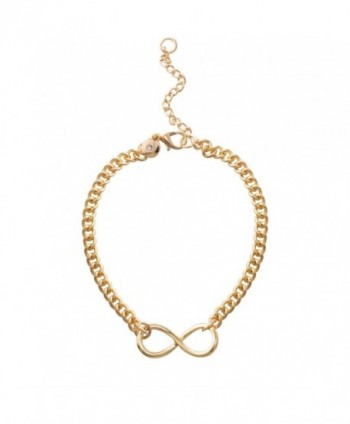 Jane Stone Fashion Infinity Symbol Bracelet Statement Jewelry for Women Girls - Gold Tone - CA183KX9NKI