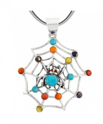 "Spider Web in Turquoise & Gemstones Pendant Necklace 925 Sterling Silver (18"" Length) - Multi-Gemstones - CI1879L7Y09"