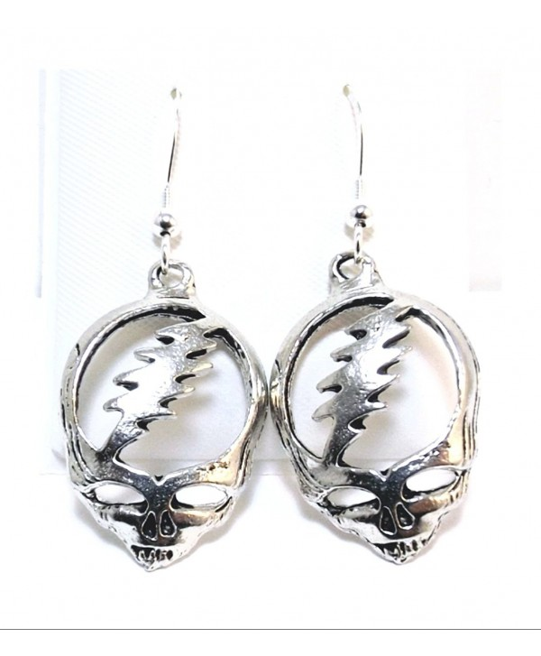 Pewter Grateful Dead Head Charms on Hypoallergenic French Hook Dangle Earrings - CC180L43XRQ