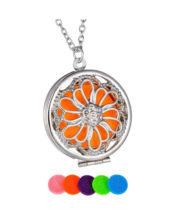 HooAMI Flower Aromatherapy Essential Oil Diffuser Necklace Pendant Magical Box Locket Jewelry - CE12MQY7R19