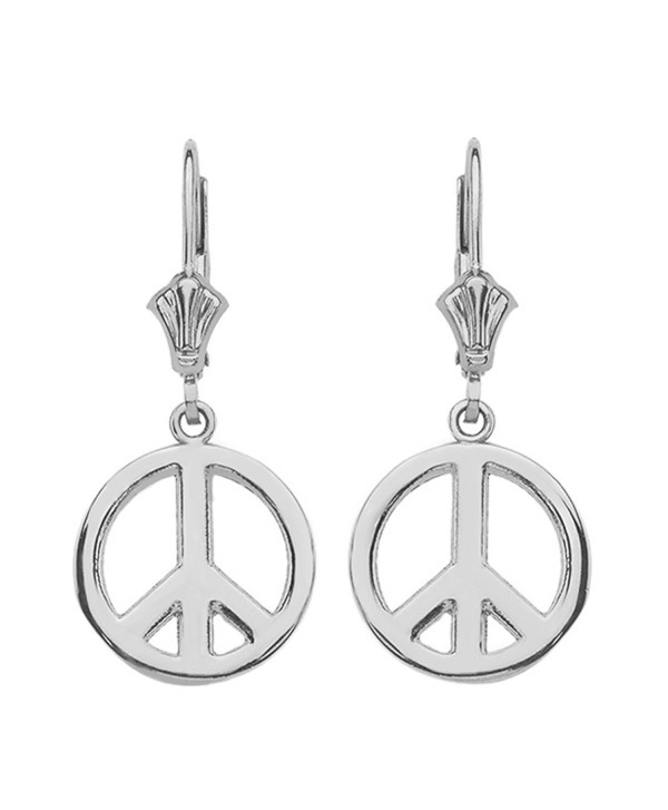 Leverback Peace Symbol Dangle Earrings in Polished Sterling Silver - CJ17YEWSW4C