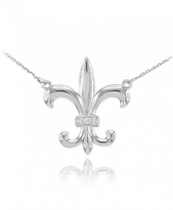 """925 Sterling Silver CZ Fleur-de-Lis Pendant Necklace- 16"""" - CI11V2T6275"""