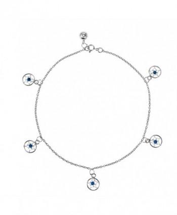 Dreamcatcher Fashion Beads Embellished .925 Sterling Silver Link Anklet - CL11UHWWCLX