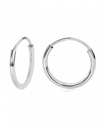 14k White Gold Endless Hoop Earrings 10-20mm - C612NZU0EJ4