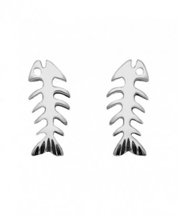 Sterling Silver Skeletal Fish Stud Earrings - CE11DYWP0IZ
