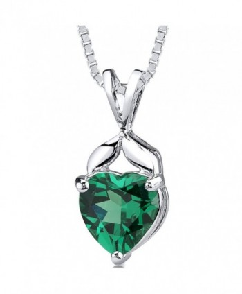 Simulated Emerald Heart Shape Pendant Sterling Silver 3.00 Carats - CI11LTGQ6V3