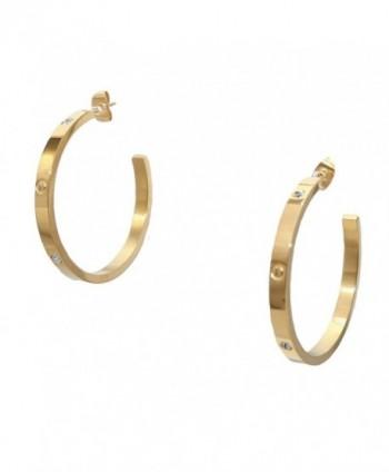 Baoli Titanium Steel Gold Screw Diamond Love Big Hoop Earring - CQ186RDTMRA