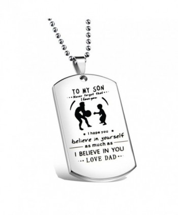 Ensianth Father Son Jewelry Never Forget That I Love You Necklace Dog Tag Necklace To My Son Gift - Necklace - CV186KN85CI