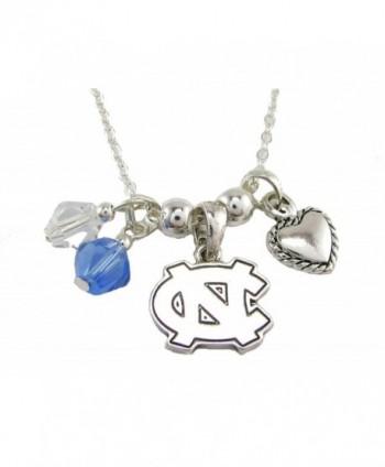 North Carolina Tar Heels Blue Austrian Crystal Heart Silver Chain Necklace UNC - CO11QZRR3G3