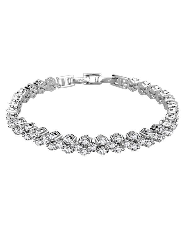 Elensan Woman's 925 Sterling Silver White Cubic Zirconia Tennis Platinum Plated Bling Bracelet - CQ12L5GOZBJ