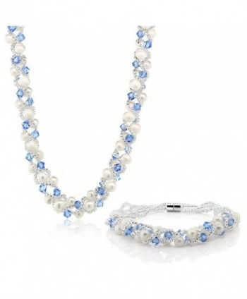 17 Inch White Cultured Freshwater Pearl & Blue Crystal Mash Necklace + Bracelet 6.5 Inch - CZ1189VABRZ