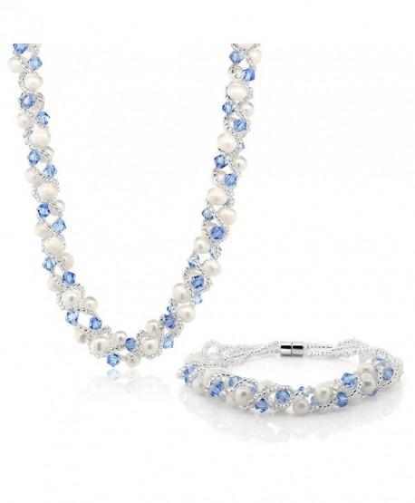 17 Inch White Cultured Freshwater Pearl & Blue Crystal Mash Necklace + Bracelet 6.5 Inch - CZ1189VABRZ