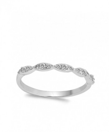 Clear Marquise Stackable Sterling Silver