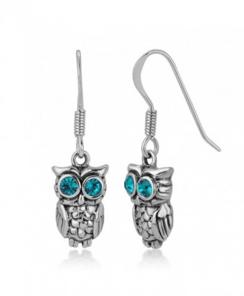 "925 Oxidized Sterling Silver Greenish Blue Eye CZ Stone 2-D Wisdom Owl Dangle Hook Earrings 1.2"" - CQ12I6MS2R3"