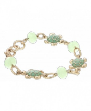 Periwinkle Gold-Tone Link Chain Bracelet with Aqua Green Turtles & Faceted Beads - CR12O2X92JH